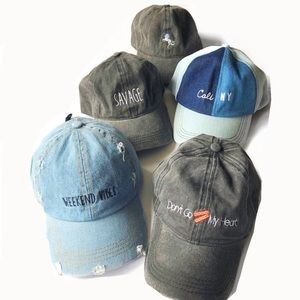 Accessories - Distressed embroidered text design hats